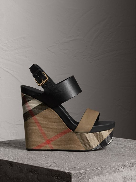 House Check Leather and Calf Suede Platform Wedges in Dark Heather Melange