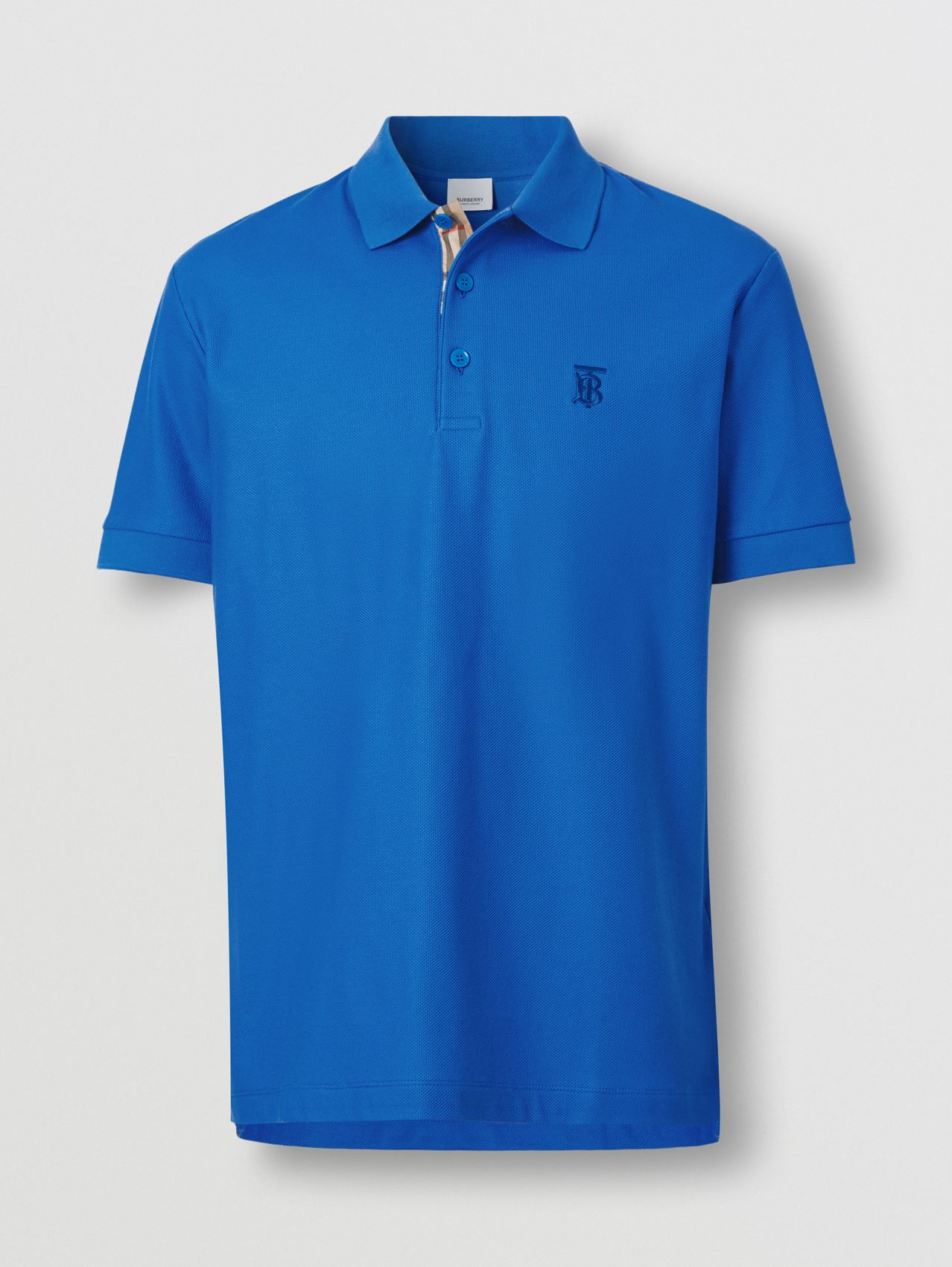 Monogram Motif Cotton Piqué Polo Shirt in Warm Royal Blue