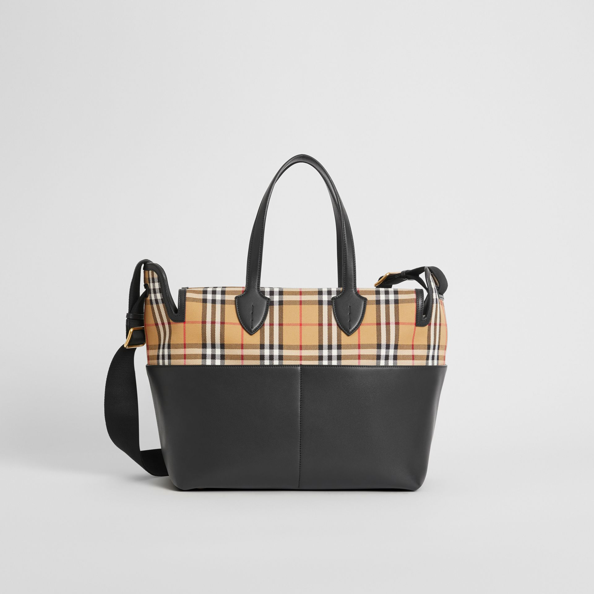Vintage Check and Leather Baby Changing Tote in Black - Children | Burberry Singapore - gallery image 0