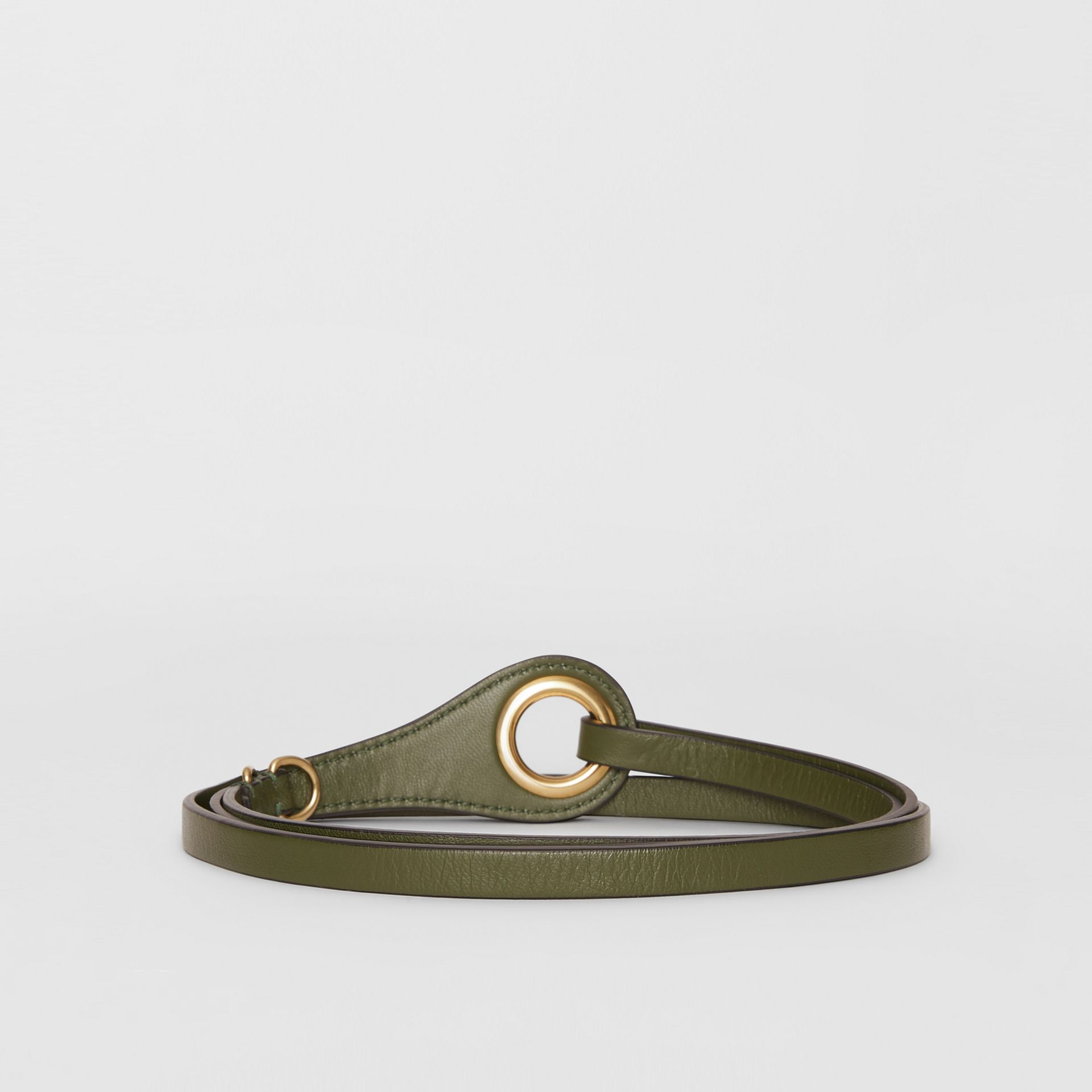 Grommet Detail Lambskin Belt in Dark Olive - Women | Burberry Australia - gallery image 4