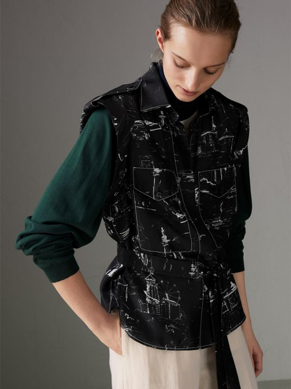 Landmark Print Sleeveless Silk Shirt in Black