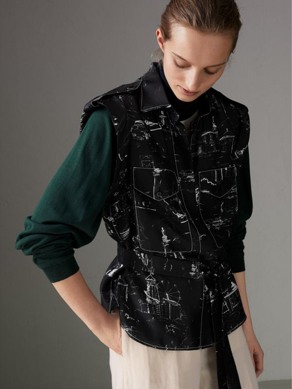Landmark Print Sleeveless Silk Shirt in Black - Women | Burberry United Kingdom - cell image 1