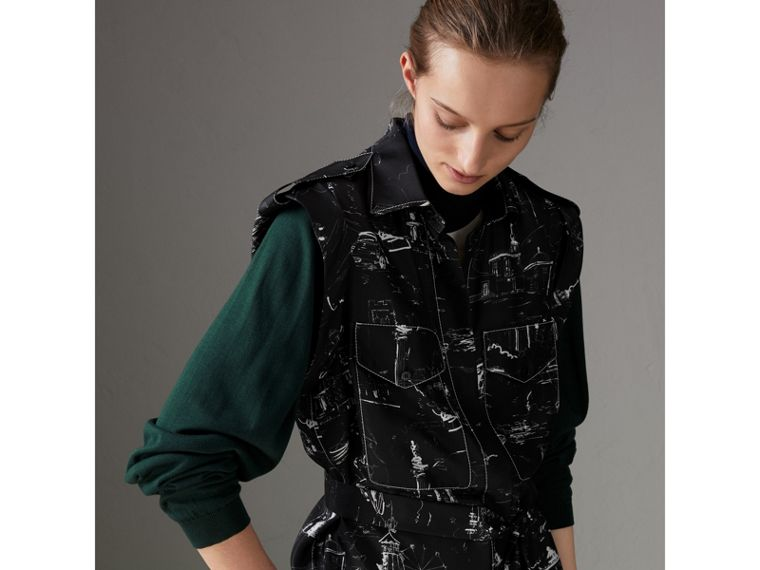 Landmark Print Sleeveless Silk Shirt in Black - Women | Burberry - cell image 1