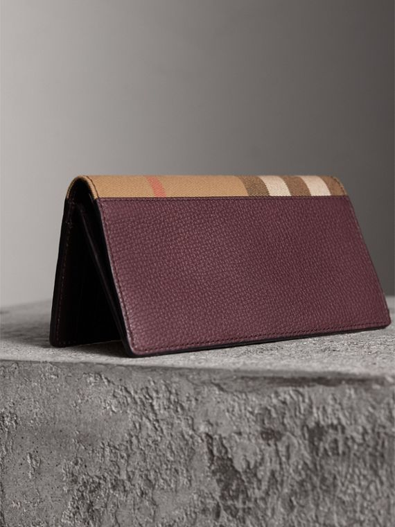 House Check and Grainy Leather Continental Wallet in Wine | Burberry - cell image 2