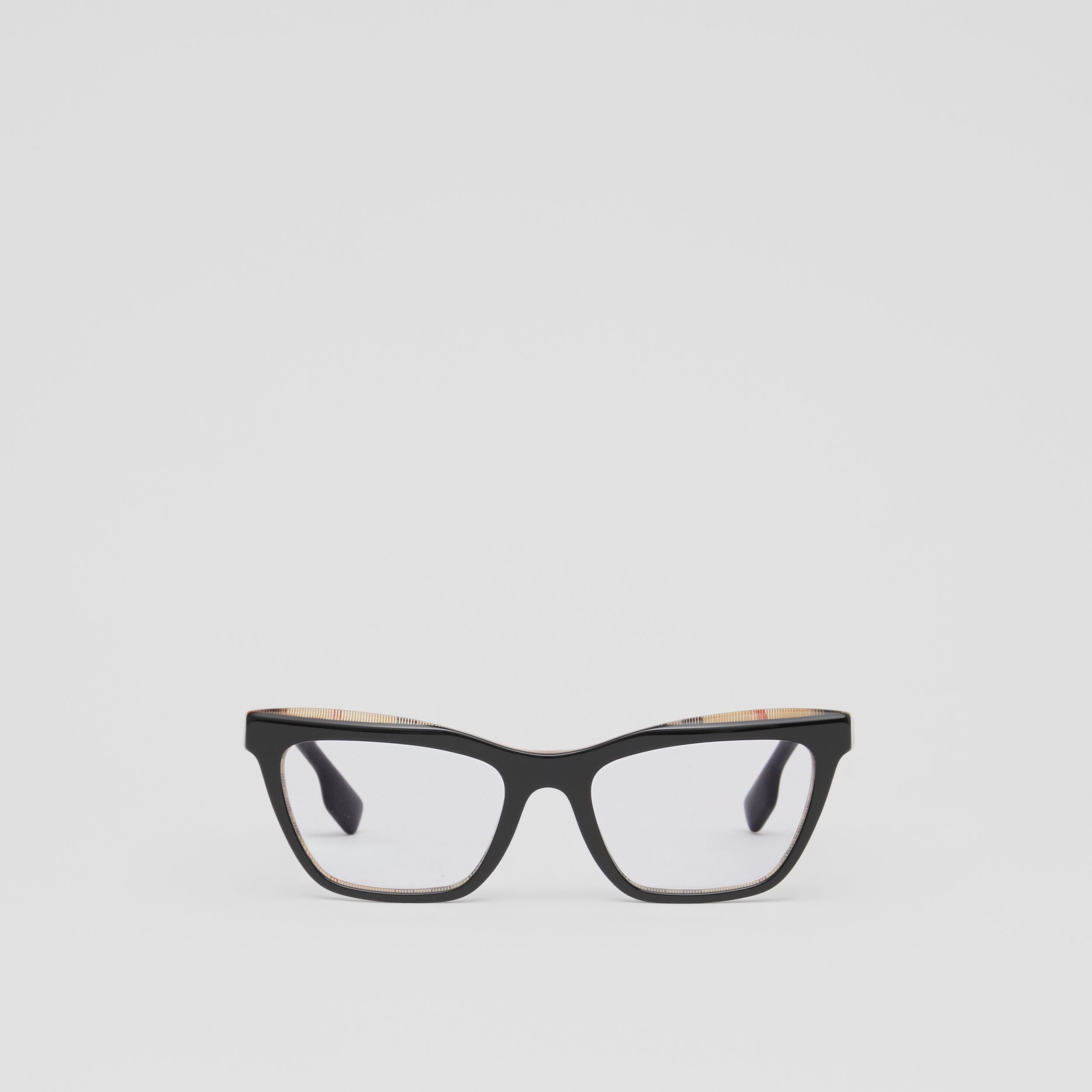 Rectangular Optical Frames in Black/beige - Women | Burberry United States - 1