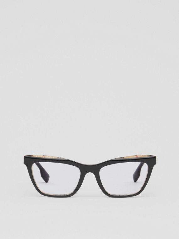 Rectangular Optical Frames in Black/beige