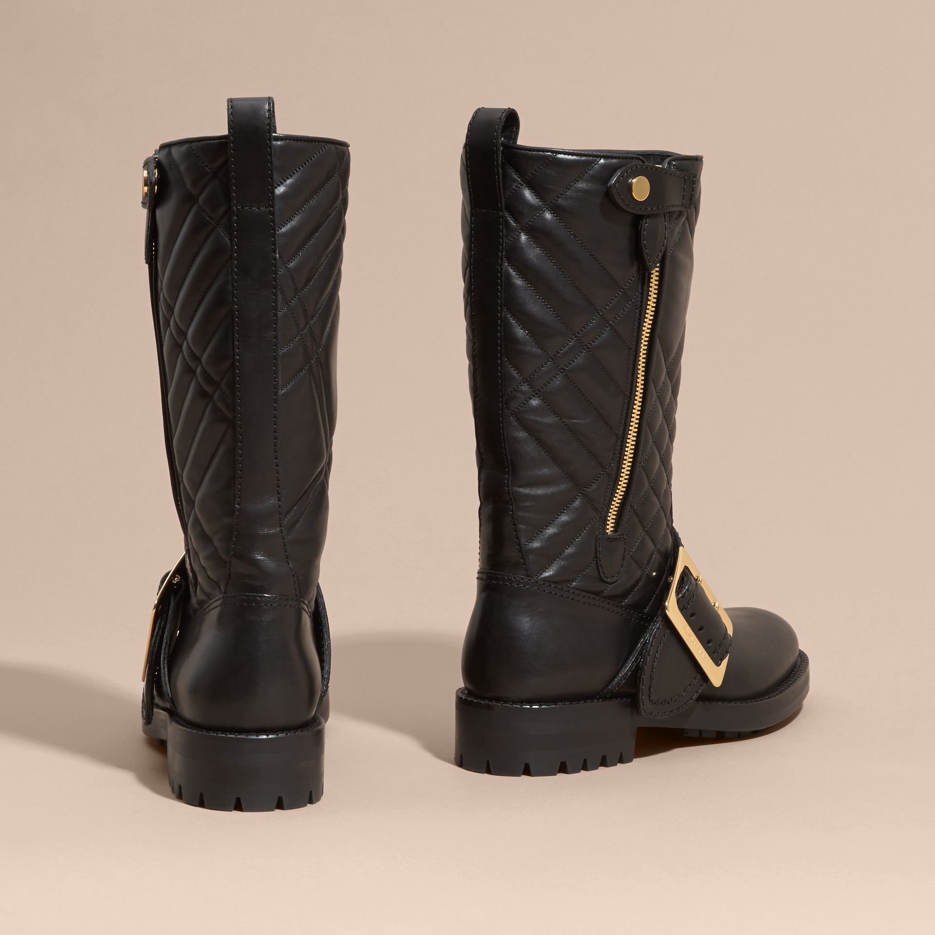 Black Buckle Detail Check Quilted Leather Boots - gallery image 4
