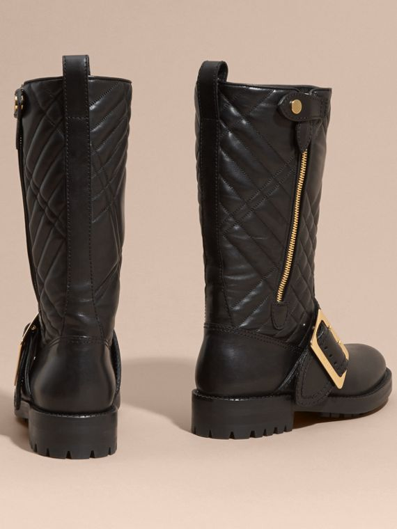 Black Buckle Detail Check Quilted Leather Boots - cell image 3