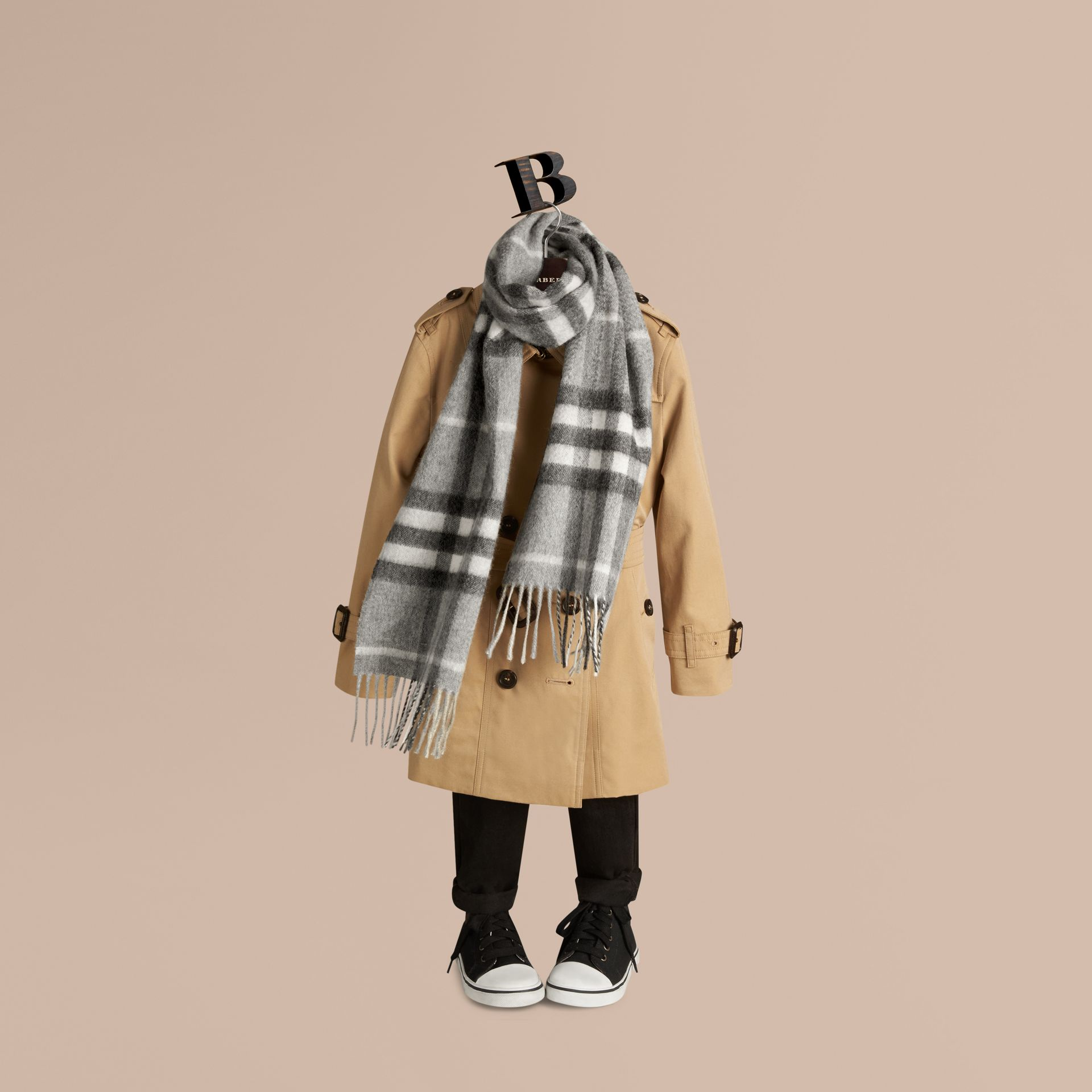 Pale grey The Mini Classic Cashmere Scarf in Check Pale Grey - gallery image 3
