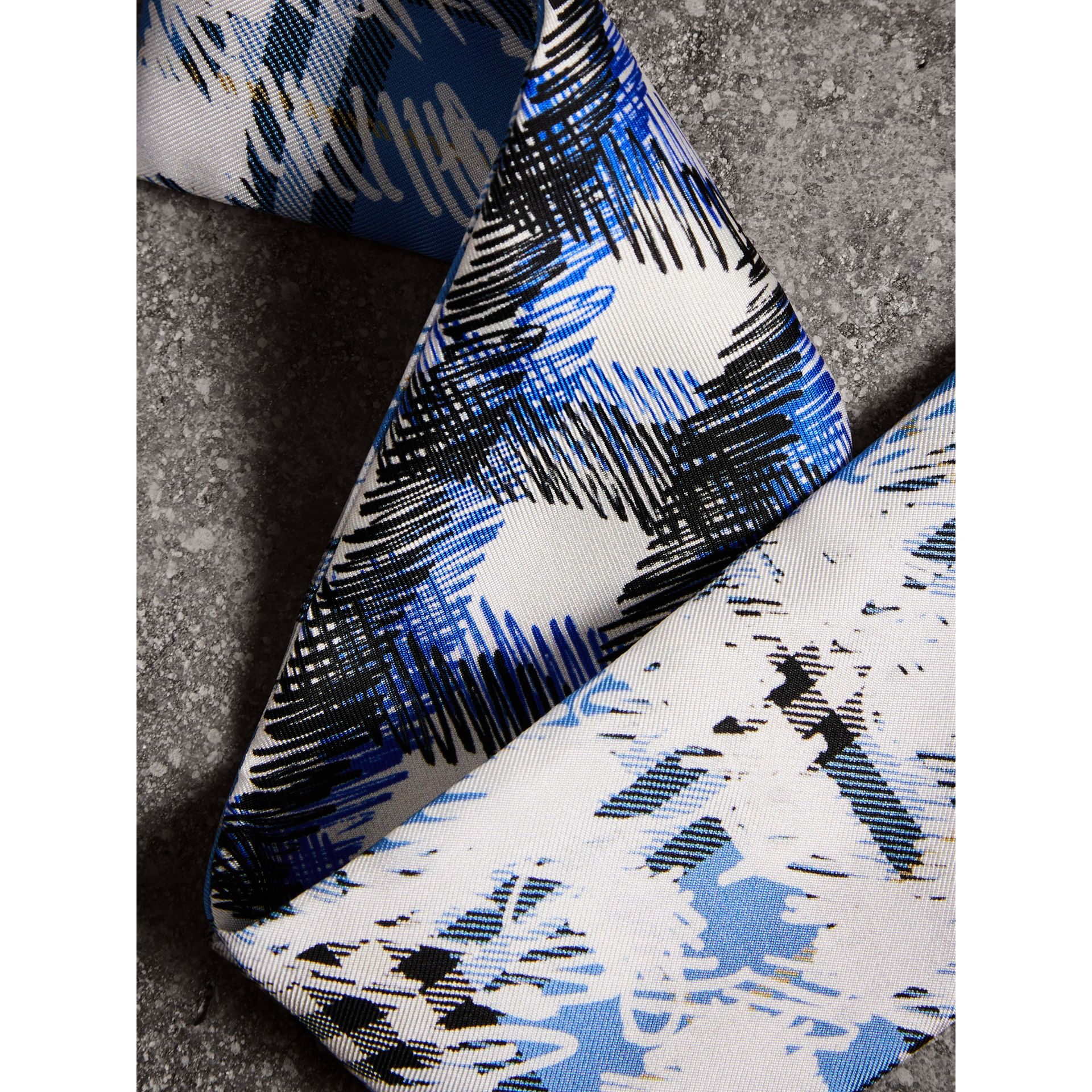 Scribble Check Silk Slim Scarf in Light Azure - Women | Burberry - gallery image 1