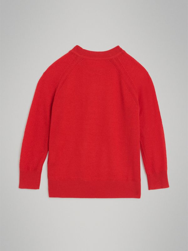 Crew Neck Cashmere Sweater in Burgundy Red | Burberry - cell image 3
