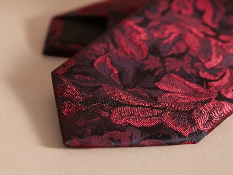 Modern Cut Floral Jacquard Silk Tie Deep Claret - cell image 1