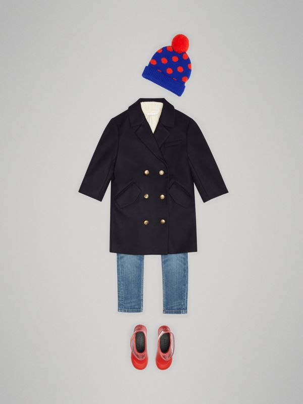 Crested Button Wool Pea Coat in Navy | Burberry Singapore - cell image 2