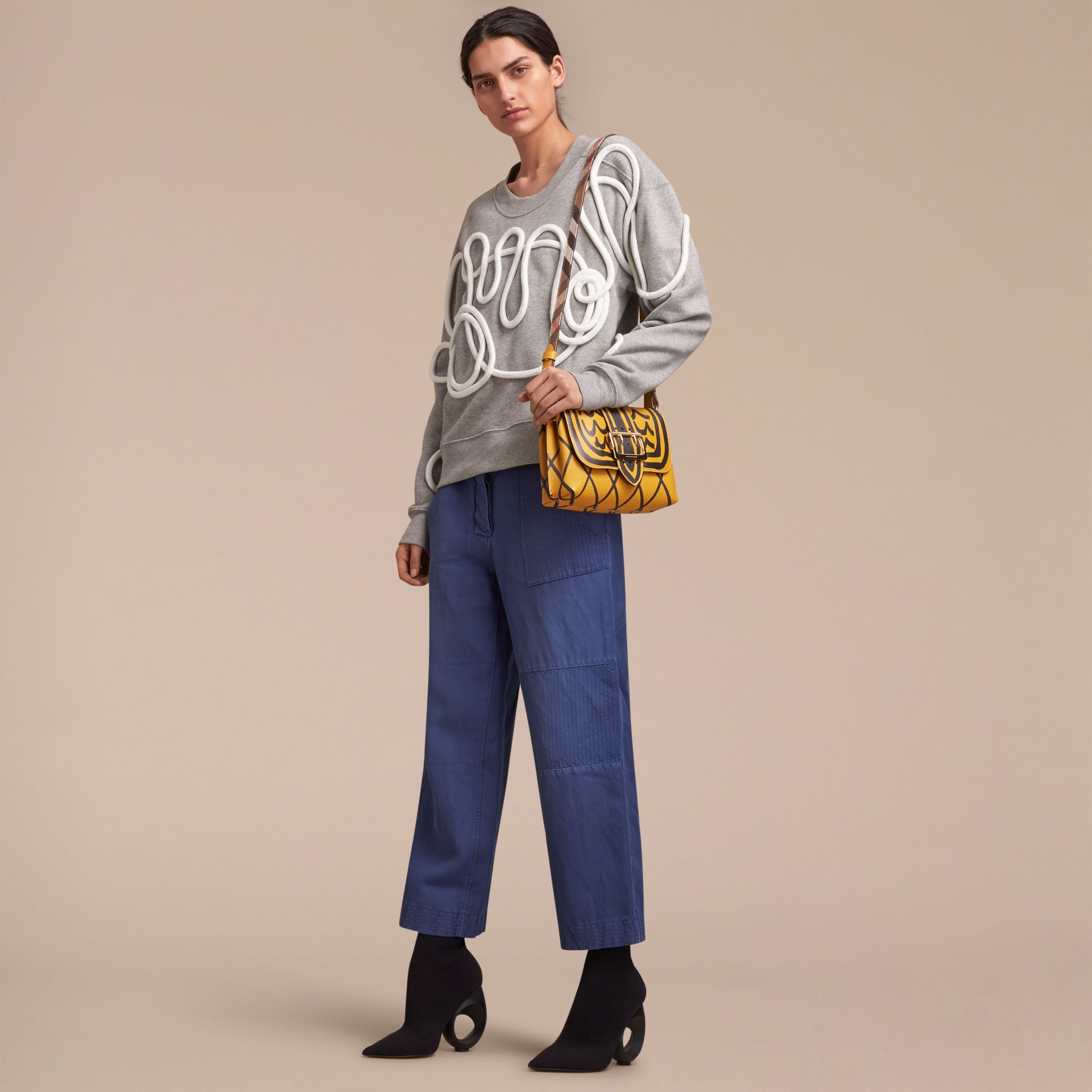 The Buckle Crossbody Bag in Trompe L'oeil Leather in Bright Straw - gallery image 3
