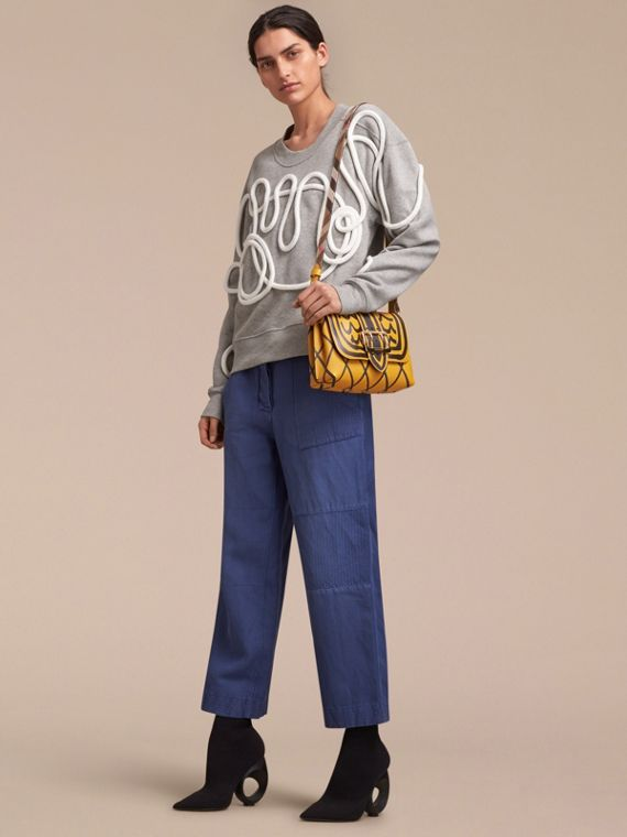 The Buckle Crossbody Bag in Trompe L'oeil Leather in Bright Straw - cell image 2