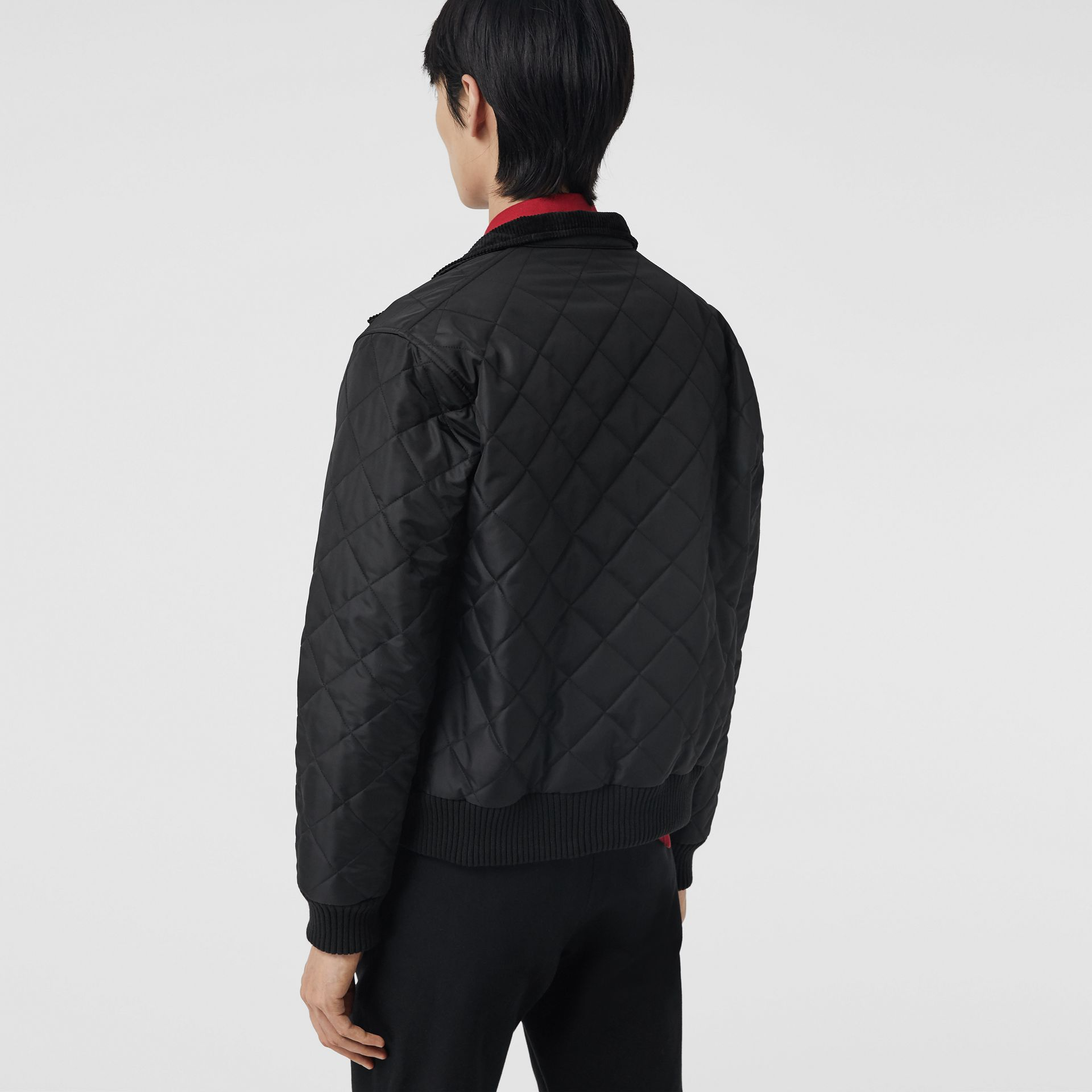 Diamond Quilted Thermoregulated Harrington Jacket in Black - Men | Burberry - gallery image 2