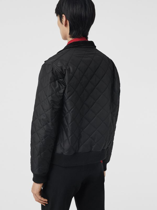 Diamond Quilted Thermoregulated Harrington Jacket in Black - Men | Burberry Singapore - cell image 2