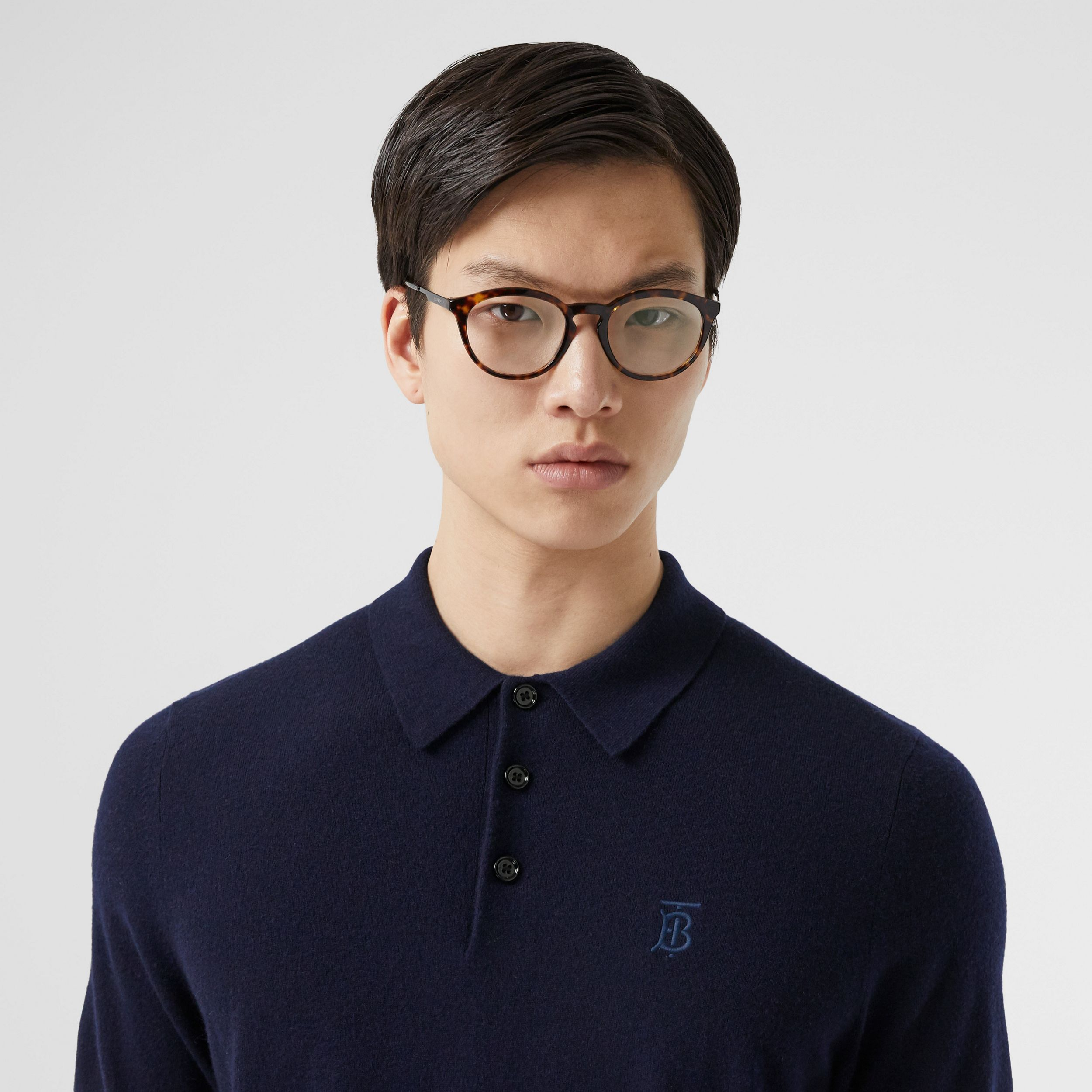 Monogram Motif Cashmere Polo Shirt in Navy - Men | Burberry Australia - 2