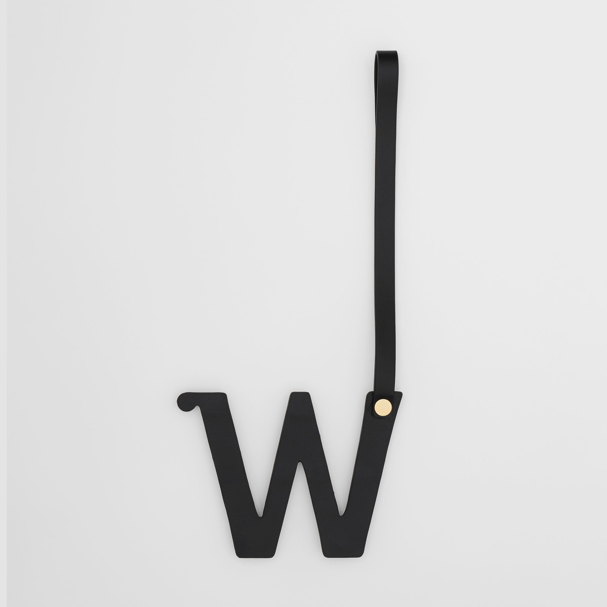 'W' Studded Leather Alphabet Charm in Black/light Gold - Women | Burberry United Kingdom - 3