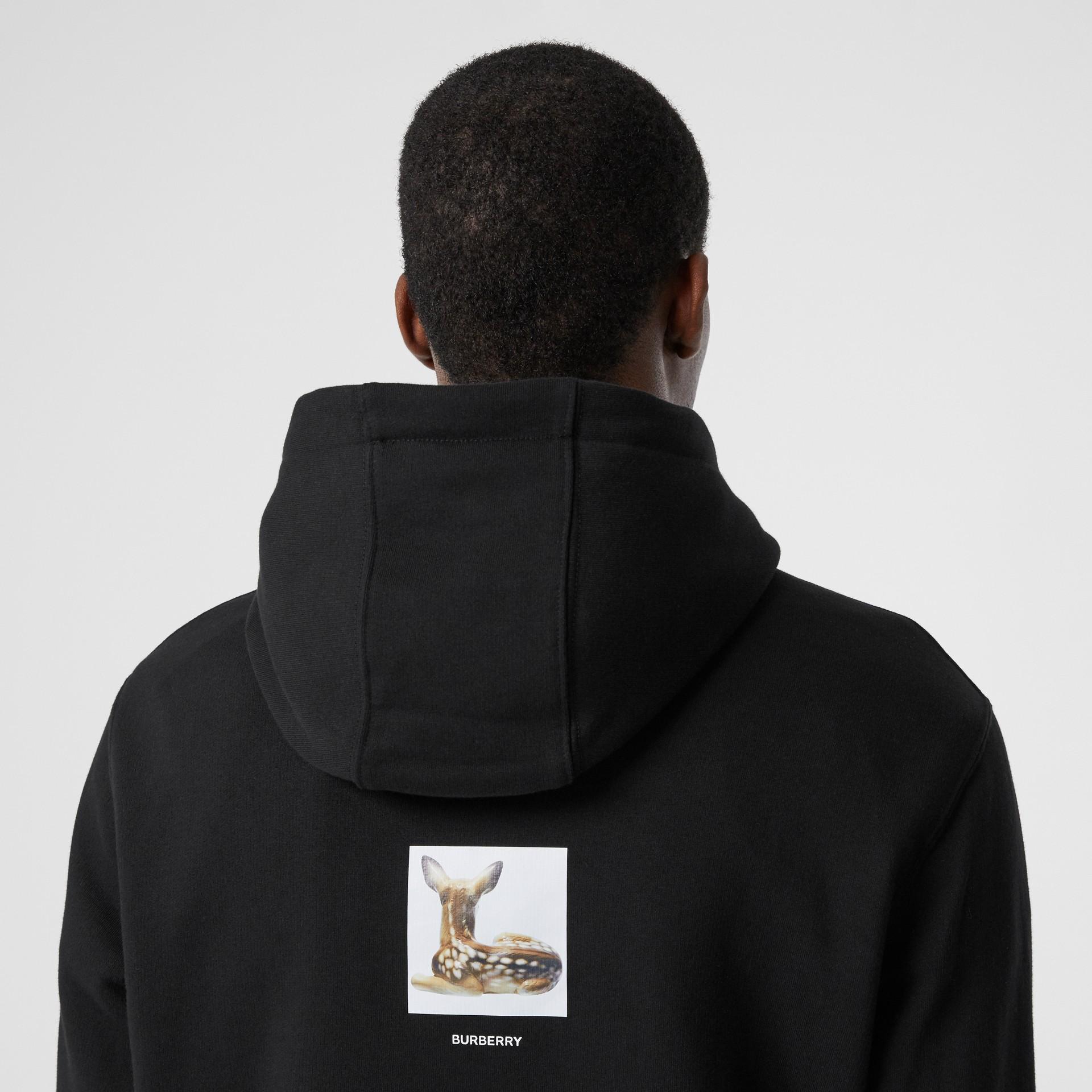 Deer Print Cotton Hoodie in Black - Men | Burberry Australia - gallery image 4