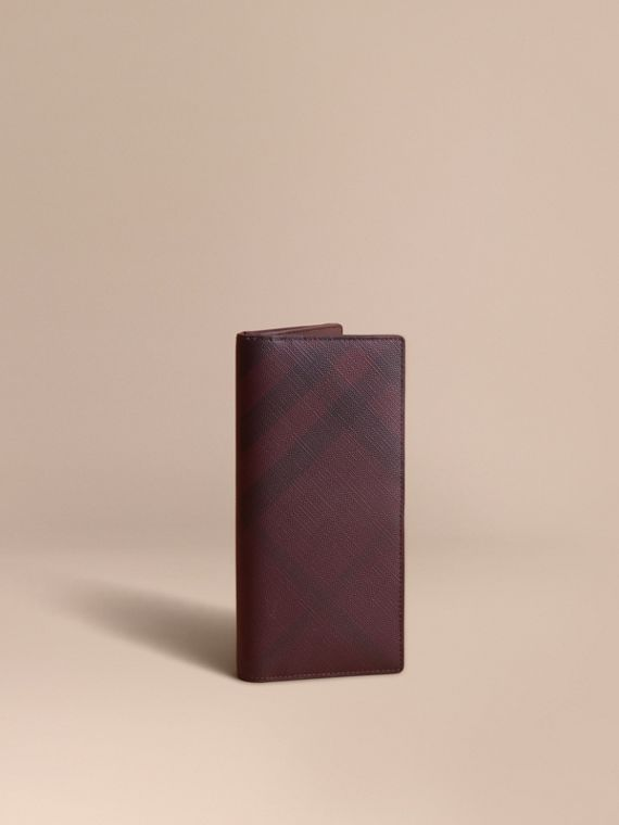 London Check and Leather Continental Wallet in Deep Claret - Men | Burberry Canada