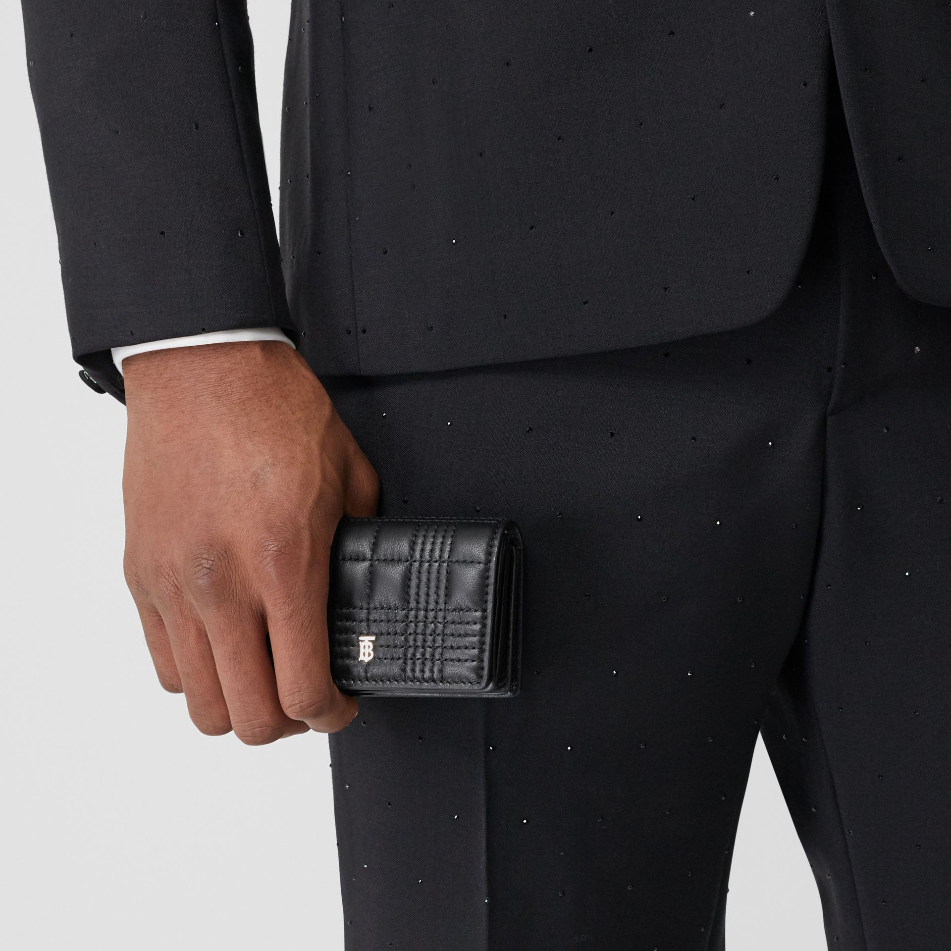 Quilted Lambskin Card Case with Detachable Strap in Black | Burberry Singapore - gallery image 3