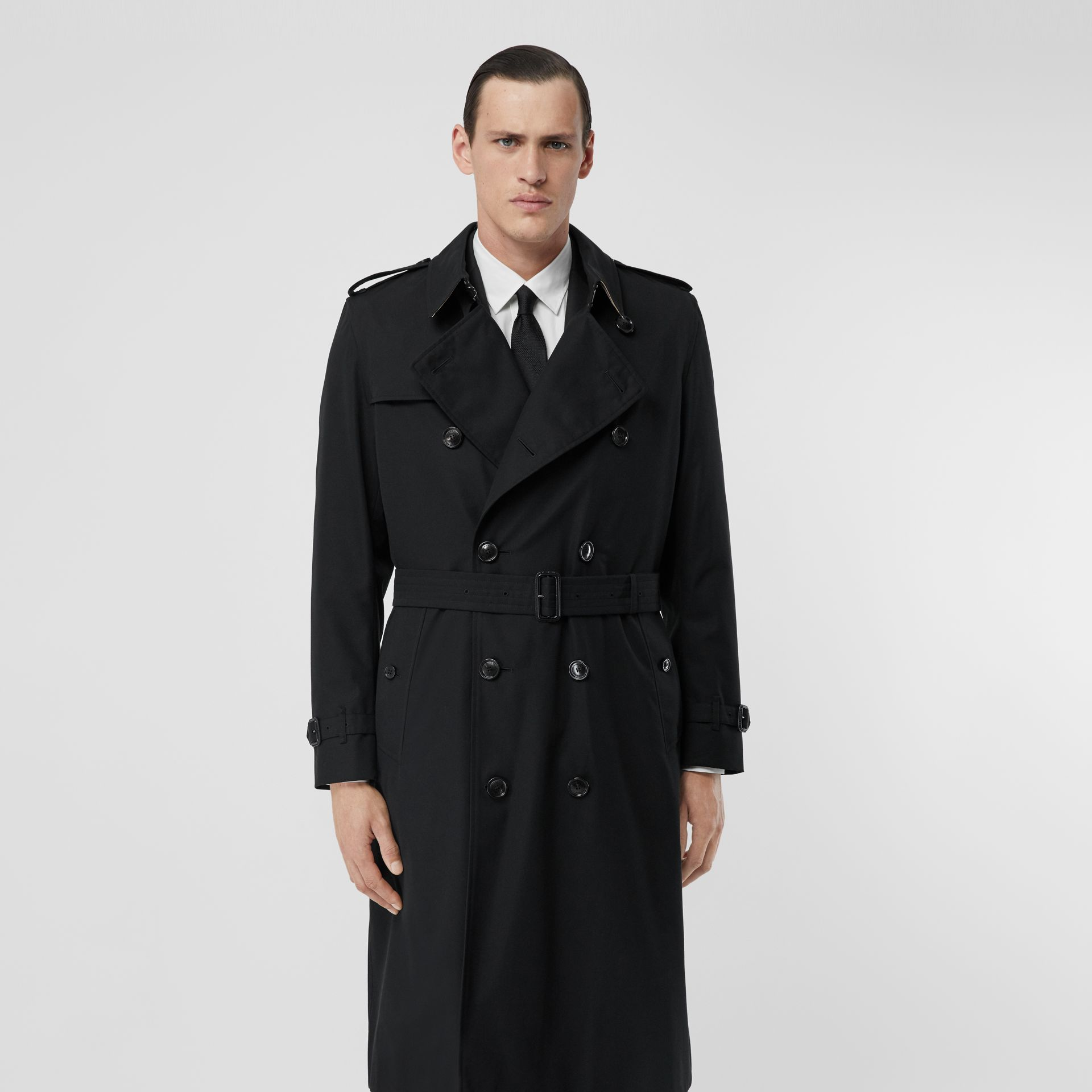 The Long Kensington Heritage Trench Coat in Black - Men | Burberry - gallery image 7