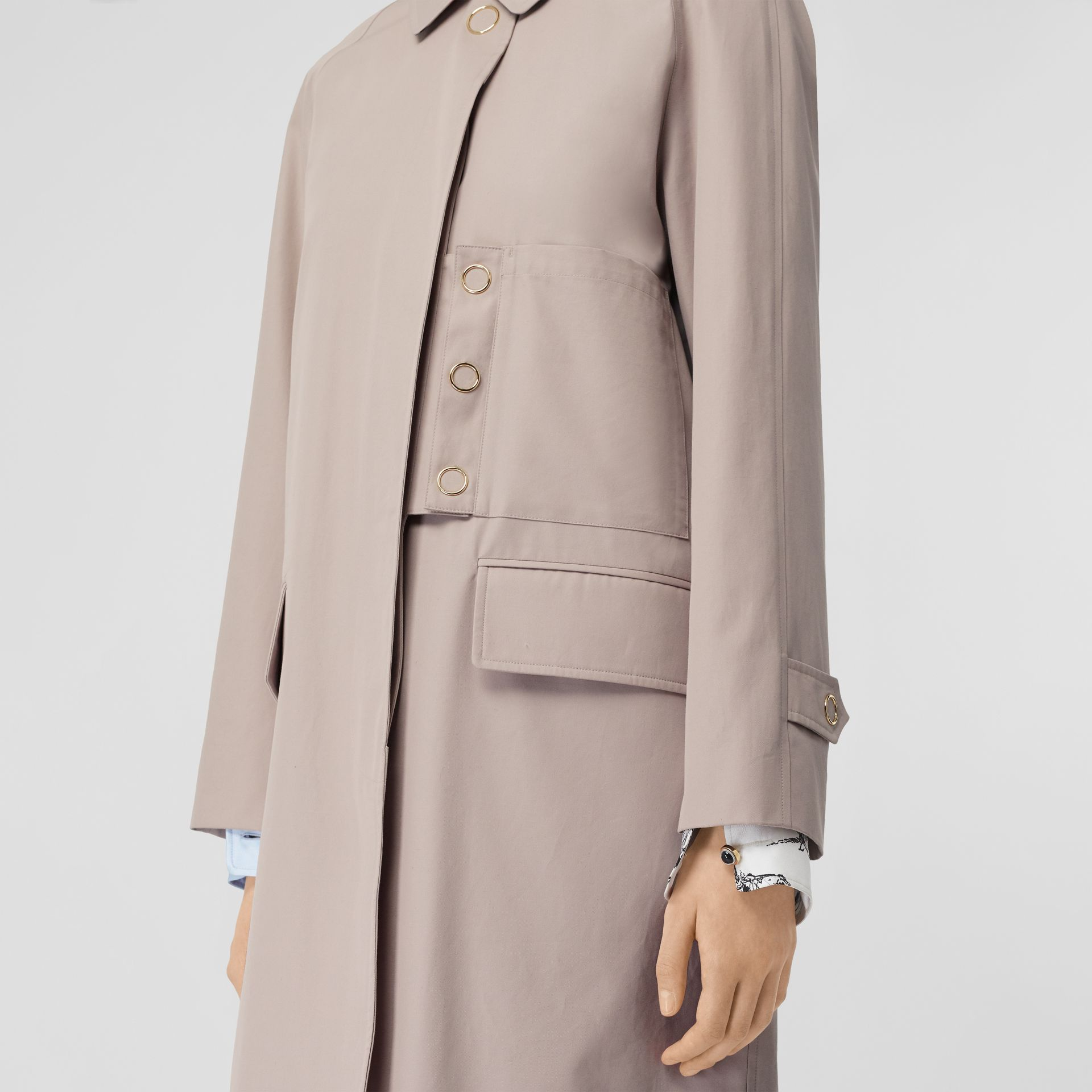 Cotton Gabardine Car Coat in Pale Blush - Women | Burberry United States - gallery image 4
