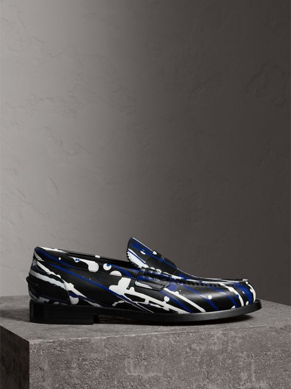 Splash Leather Penny Loafers in Black - Men | Burberry - cell image 3