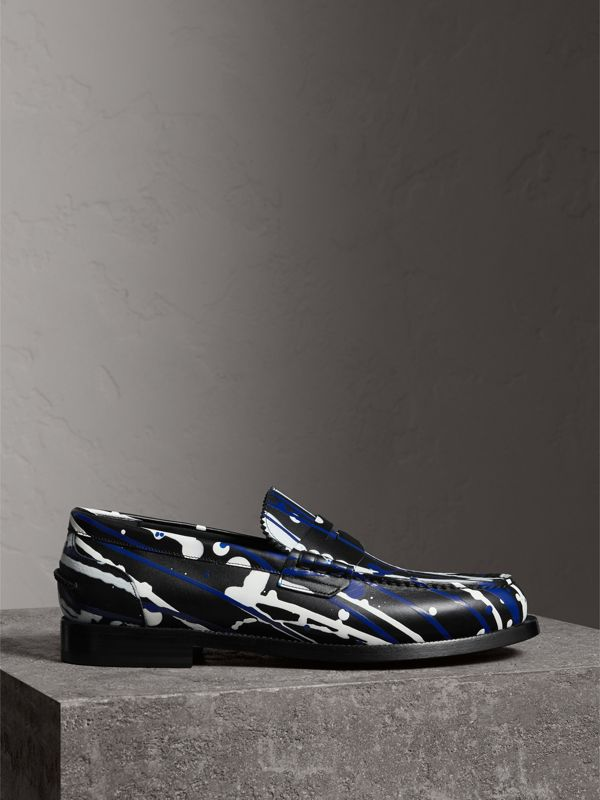 Splash Leather Penny Loafers in Black - Men | Burberry United Kingdom - cell image 3