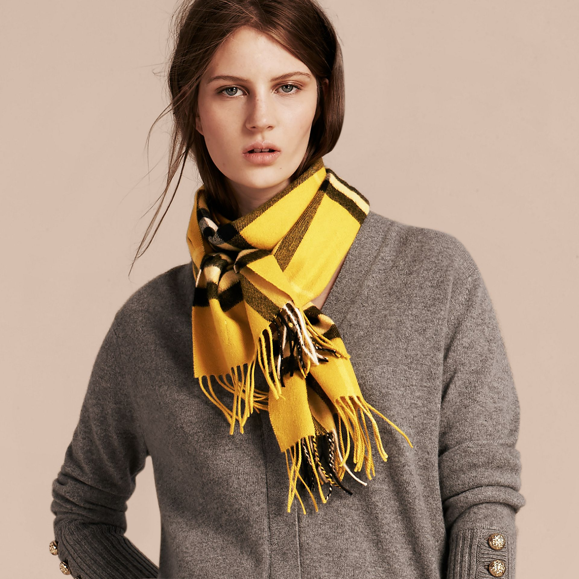 Gorse yellow The Classic Cashmere Scarf in Check  Gorse Yellow - gallery image 4
