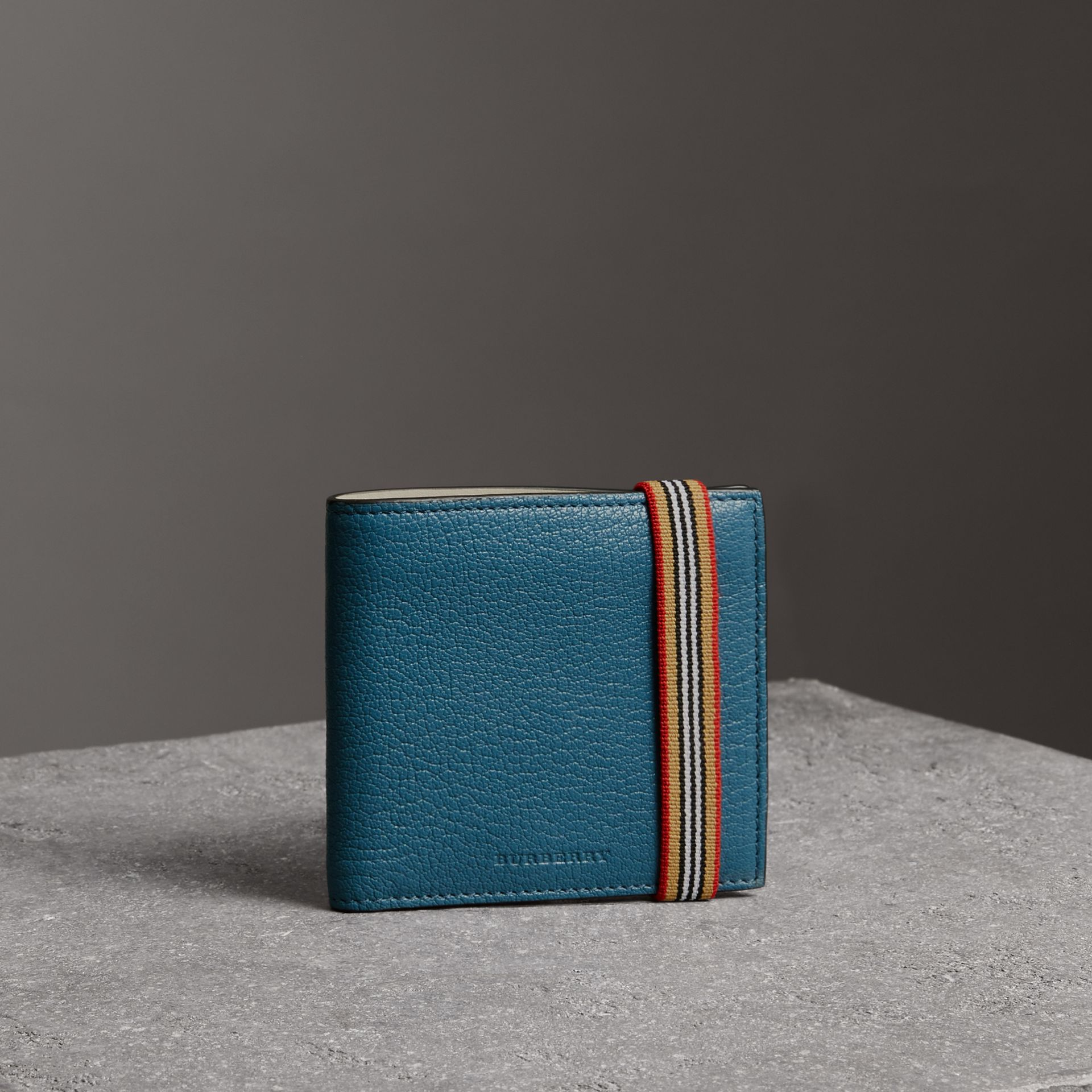 Heritage Stripe Leather International Bifold Wallet in Peacock Blue - Men | Burberry - gallery image 0