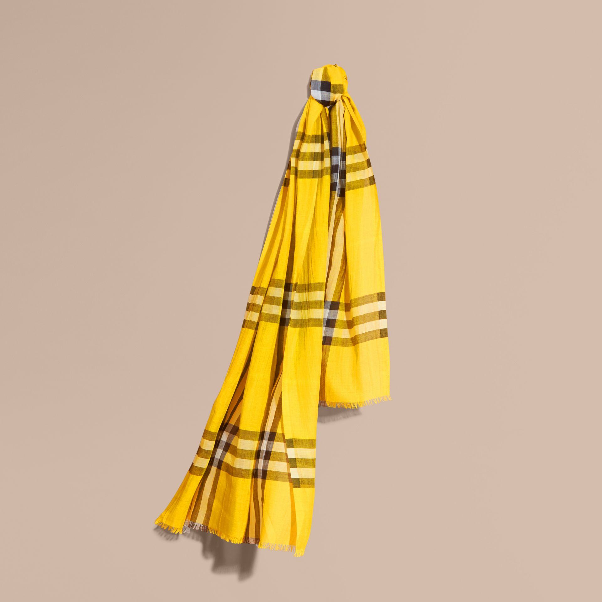 Lightweight Check Wool and Silk Scarf in Gorse Yellow - gallery image 1