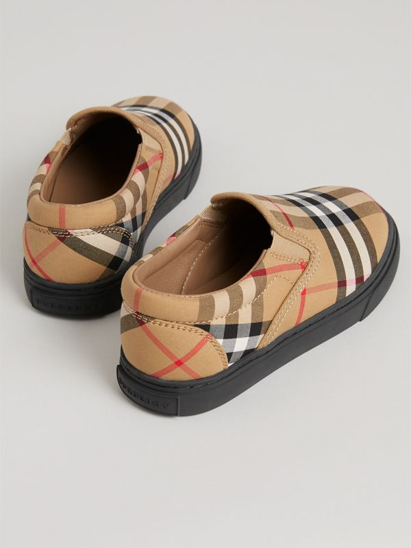 Vintage Check and Leather Slip-on Sneakers in Antique Yellow/black | Burberry Australia - cell image 2