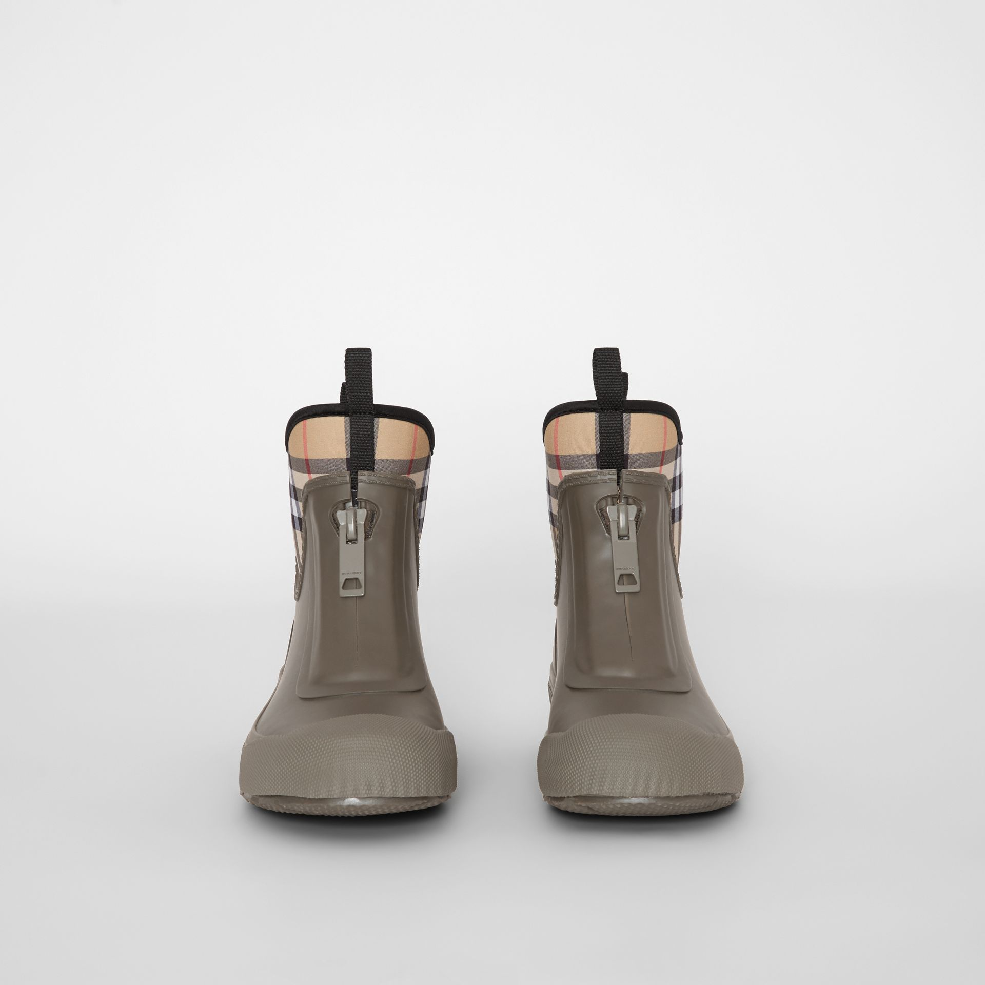 Vintage Check Neoprene and Rubber Rain Boots in Military Green - Women | Burberry United Kingdom - gallery image 3