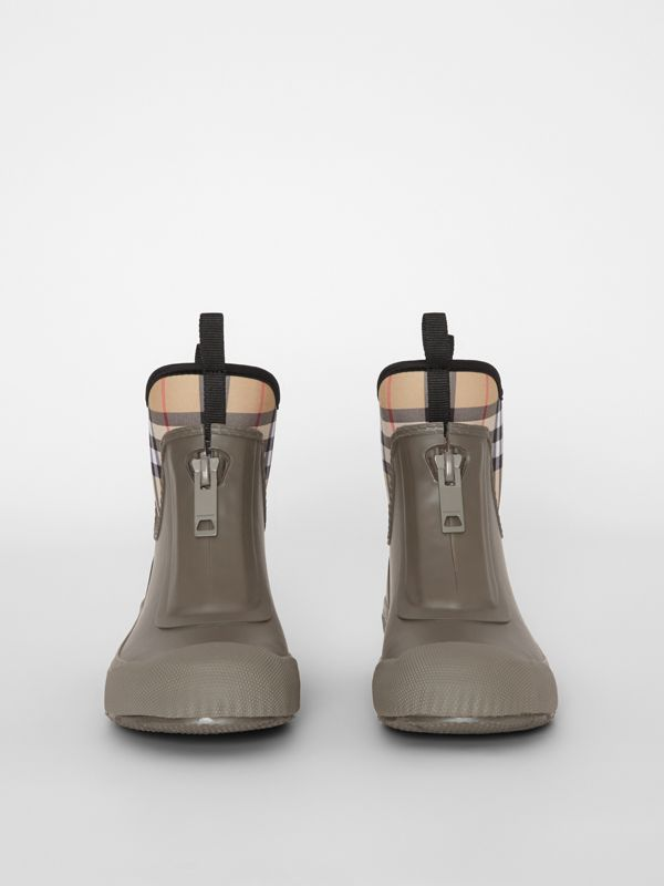 Vintage Check Neoprene and Rubber Rain Boots in Military Green - Women | Burberry United Kingdom - cell image 3