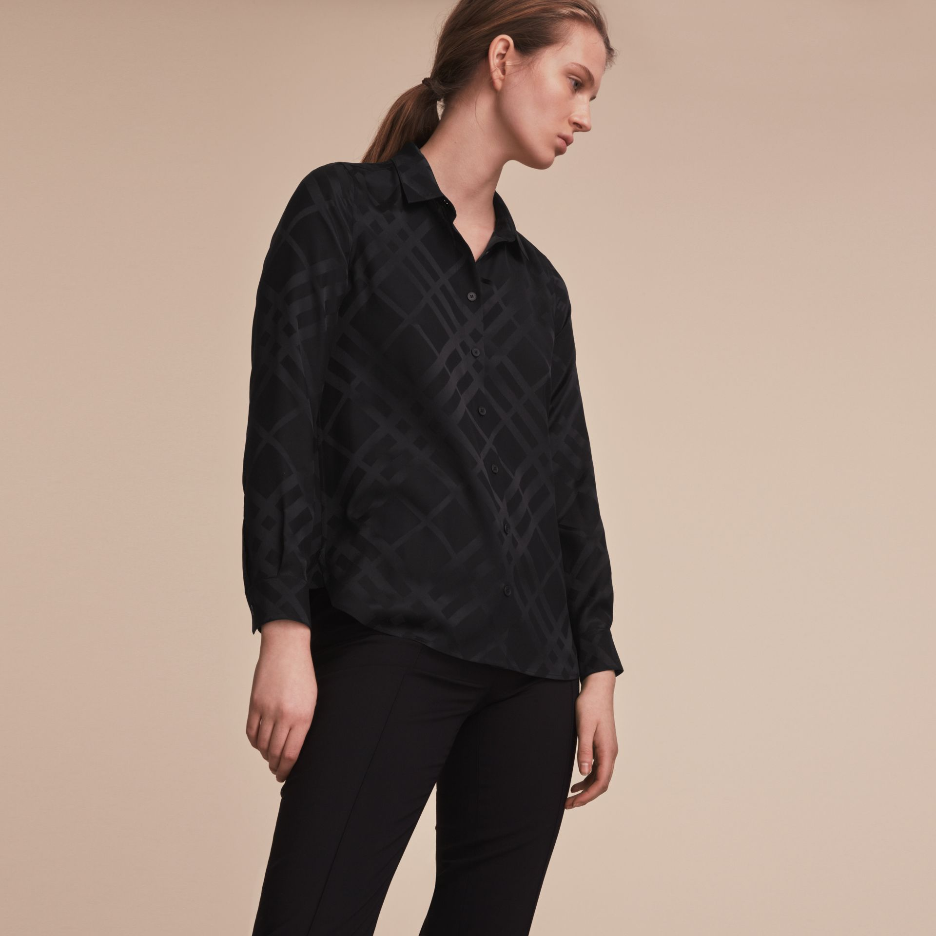 Tonal Check Silk Shirt Black - gallery image 6
