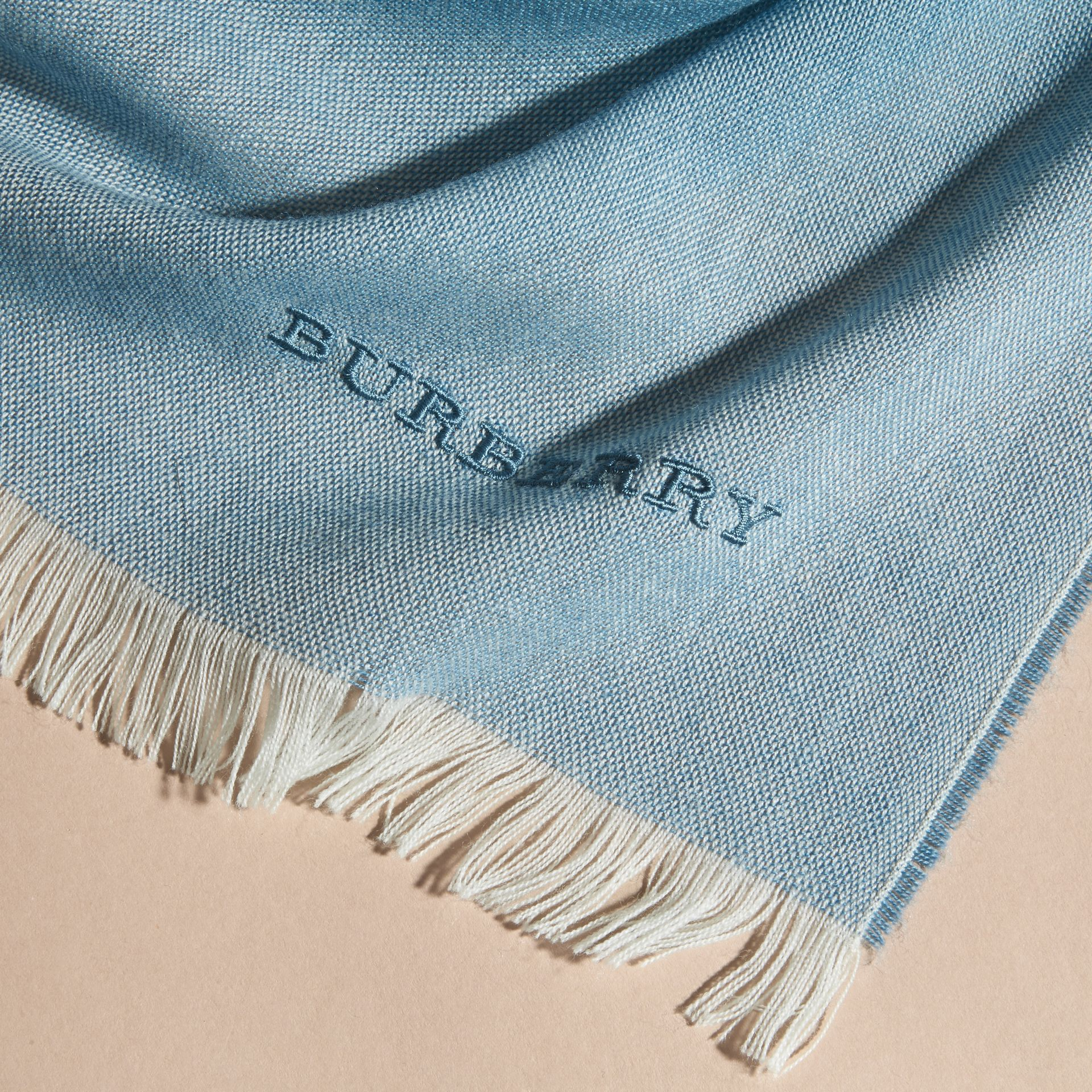 Lupin blue Lightweight Ombré Wool Cashmere Scarf - gallery image 2