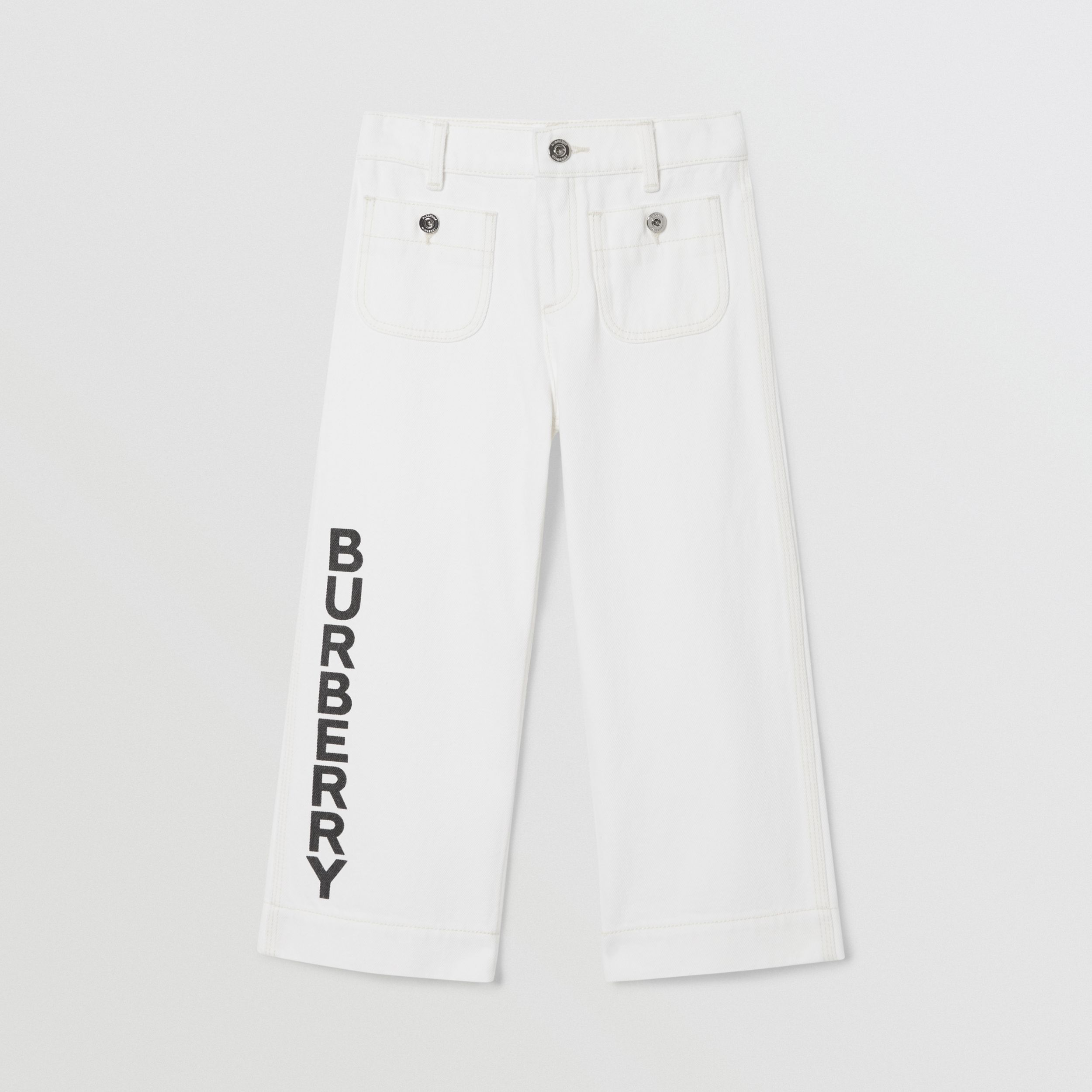 Logo Print Japanese Denim Jeans in Natural White | Burberry - 1