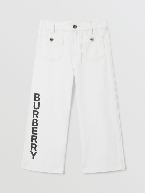 Logo Print Japanese Denim Jeans in Natural White