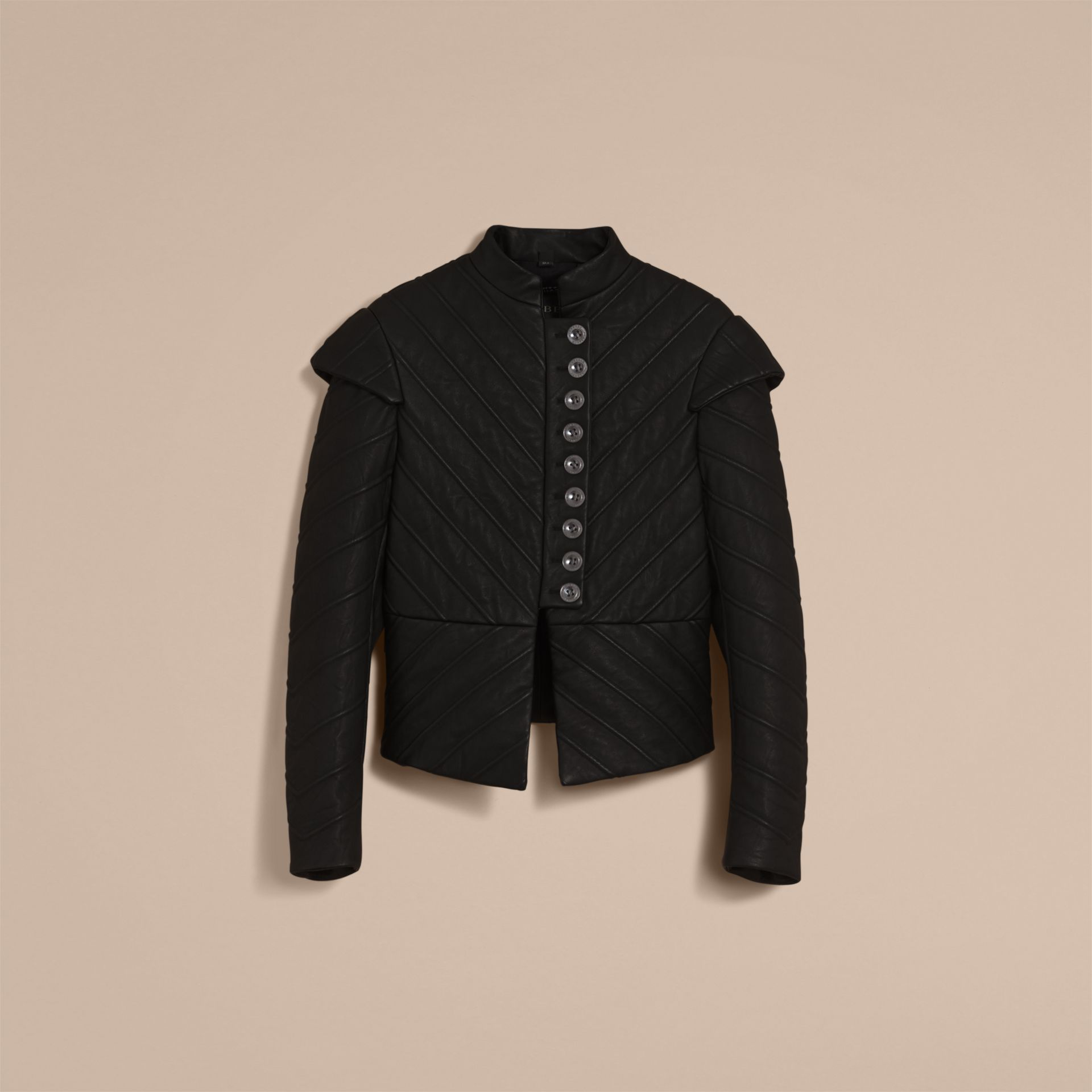 Quilted Lambskin Military-inspired Jacket in Black - Women | Burberry - gallery image 4
