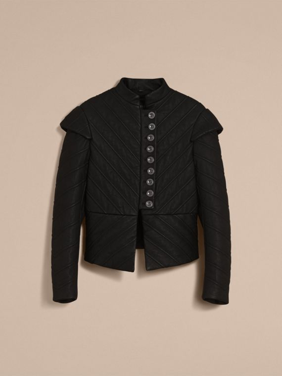 Quilted Lambskin Military-inspired Jacket in Black - Women | Burberry - cell image 3