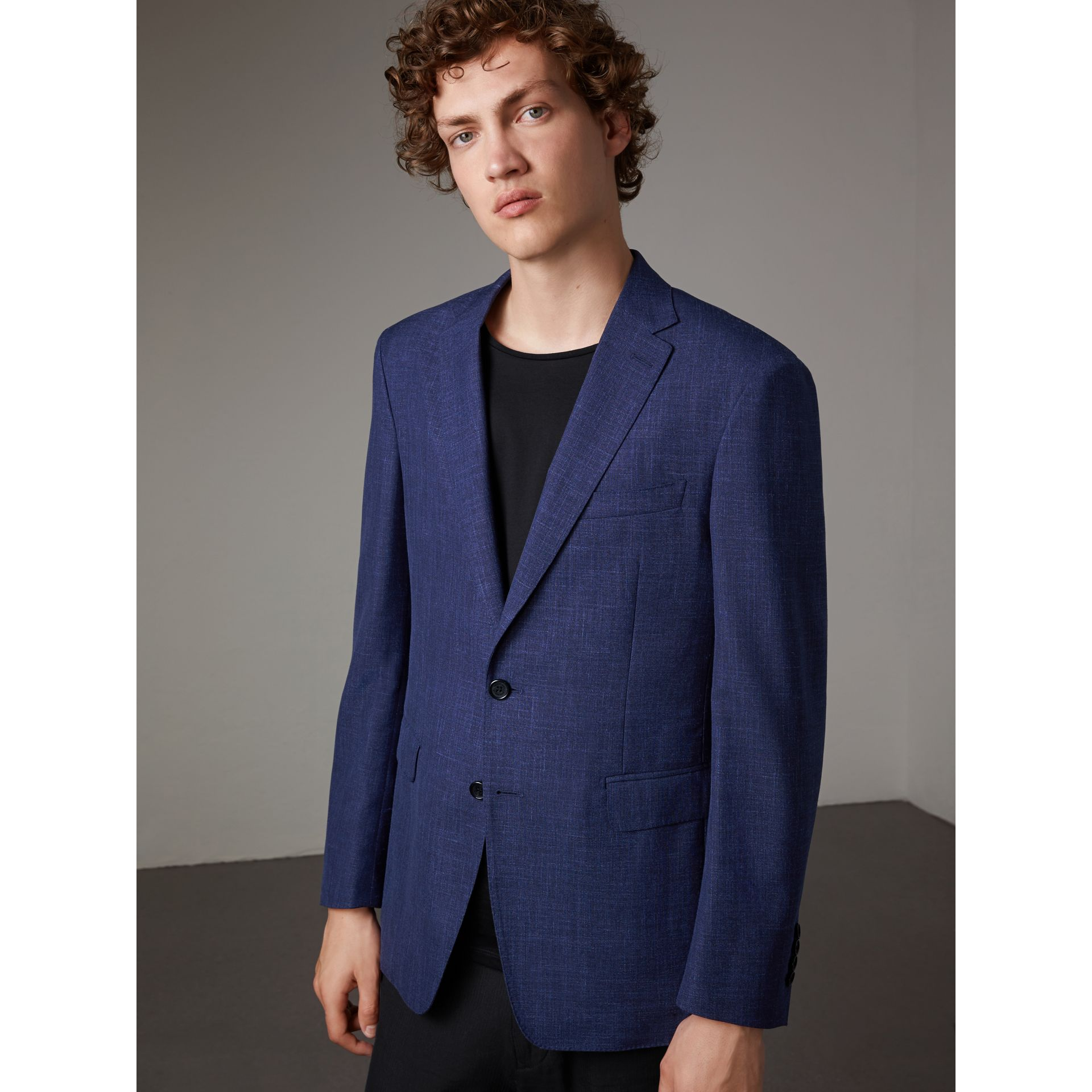 Modern Fit Wool Silk Linen Tailored Half-canvas Jacket in Steel Blue - Men | Burberry - gallery image 1