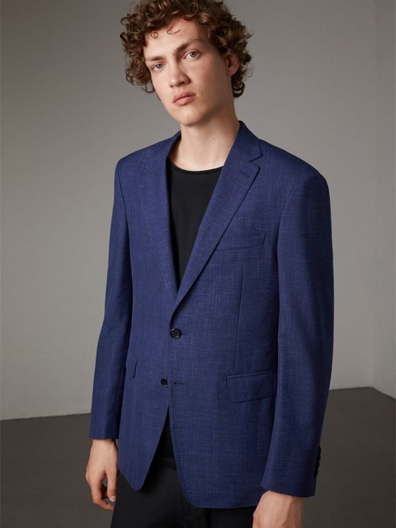Modern Fit Wool Silk Linen Tailored Half-canvas Jacket
