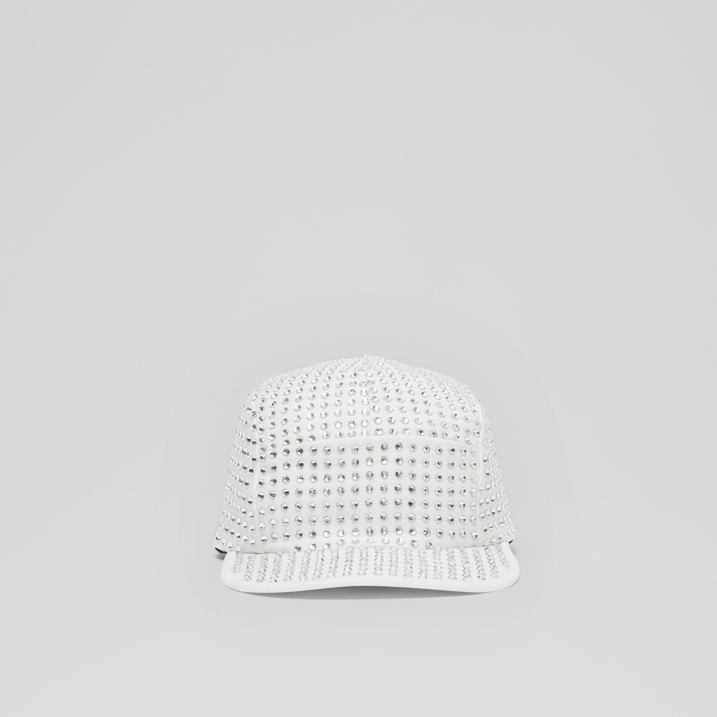 Crystal Mesh Detail Cotton Twill Cap in Optic White | Burberry Canada - 1