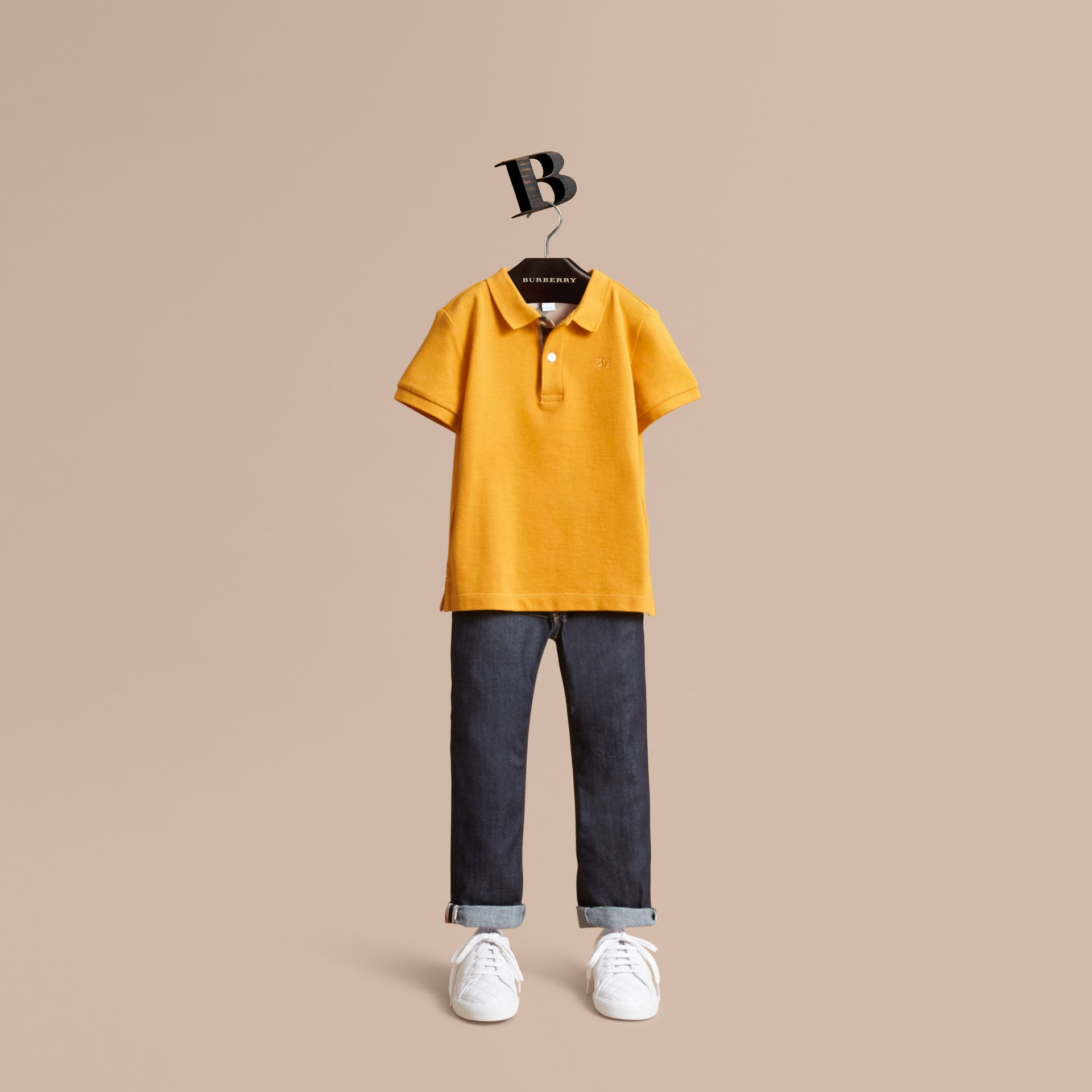 Check Placket Polo Shirt in Amber Yellow - Boy | Burberry Australia - gallery image 1