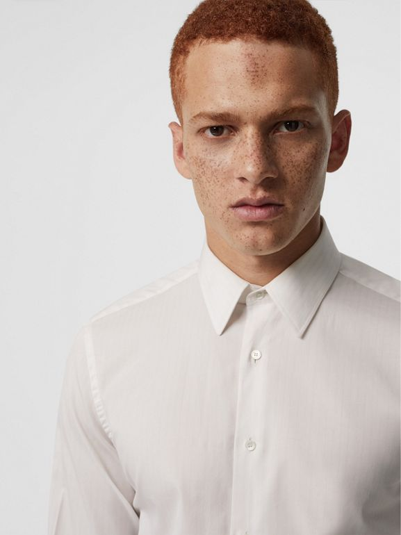 Slim Fit Striped Cotton Poplin Dress Shirt in City Pink - Men | Burberry - cell image 1