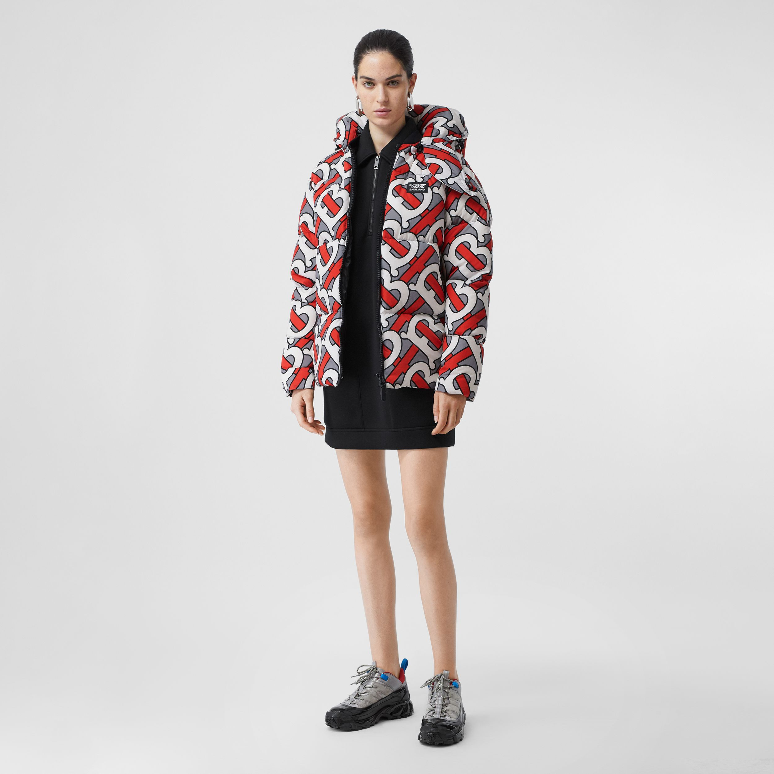 Monogram Print Puffer Jacket in Steel Grey | Burberry - 3
