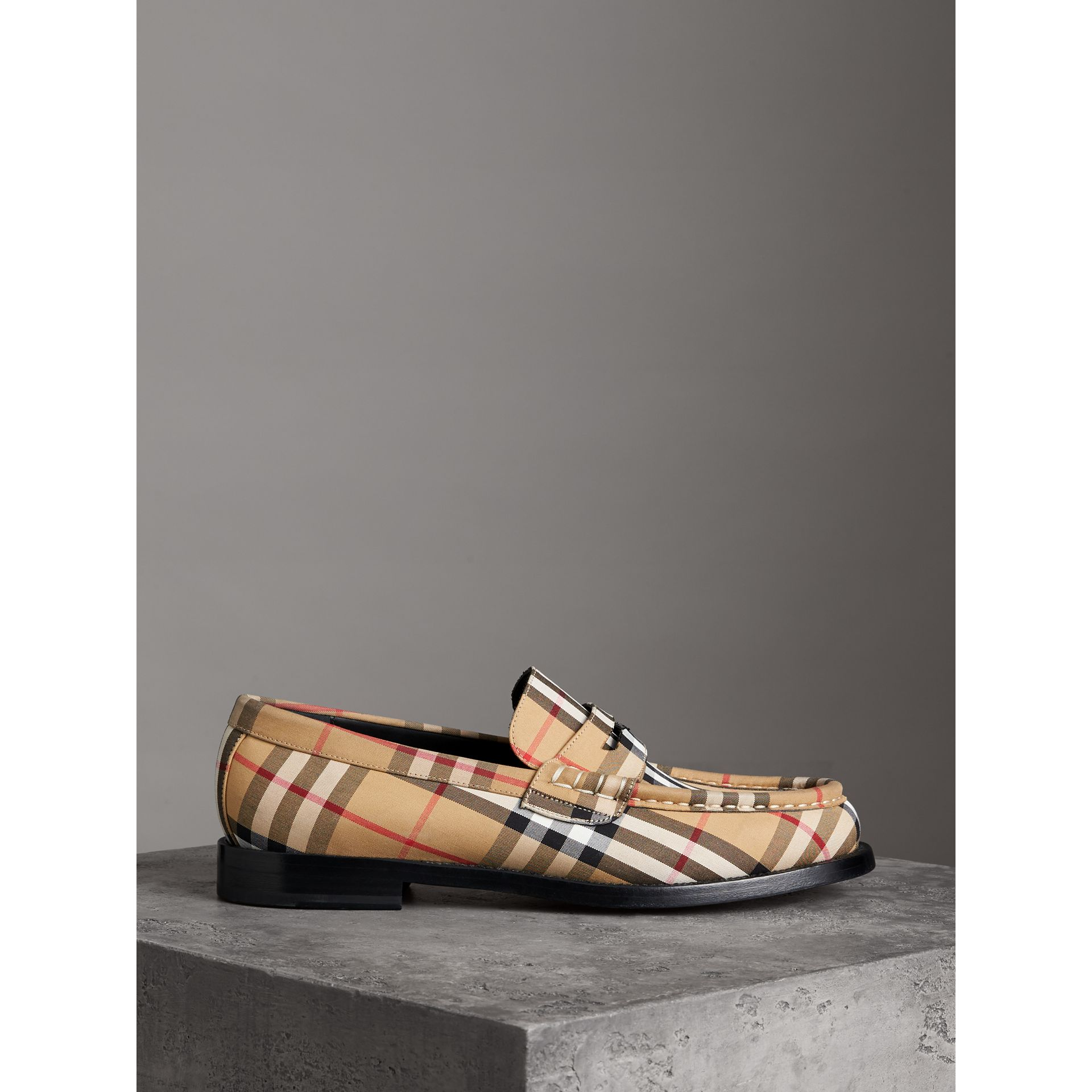 Vintage Check Cotton Loafers in Antique Yellow - Men | Burberry - gallery image 3
