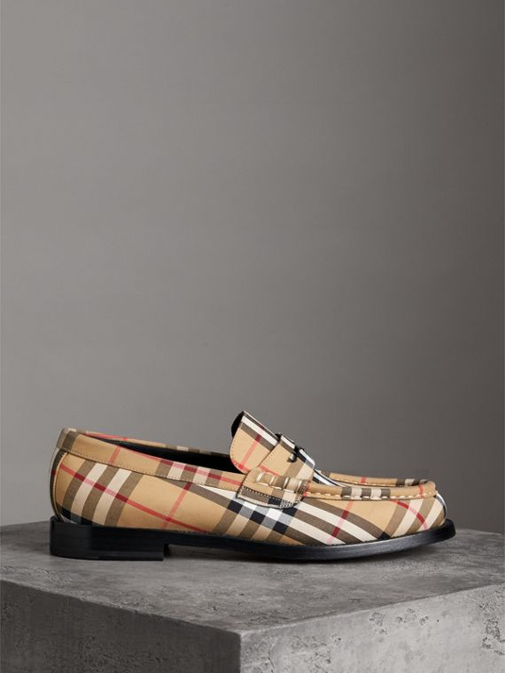 Vintage Check Cotton Loafers in Antique Yellow - Men | Burberry United Kingdom - cell image 3